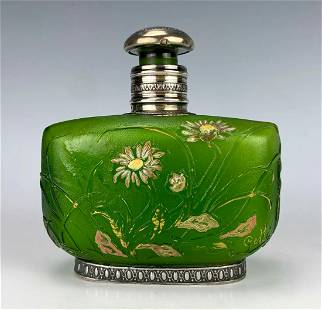 Signed Galle Glass Perfume Bottle with Sterling