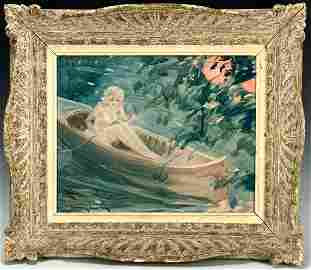 """Louis Icart (1888-1950) """"Reflets"""" Oil Painting"""