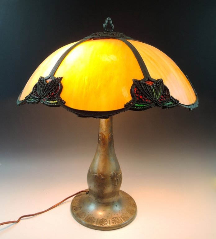 Parker Leaded & Slag Glass Panel Lamp