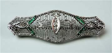 Art Deco 14K Gold Diamond  Emerald Filigree Brooch