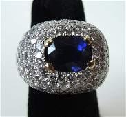 Harry Winston 18k Platinum Sapphire & Diamond Ring