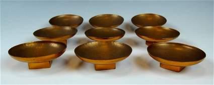 Nine Rare Arts & Crafts Dirk Van Erp Copper Salts