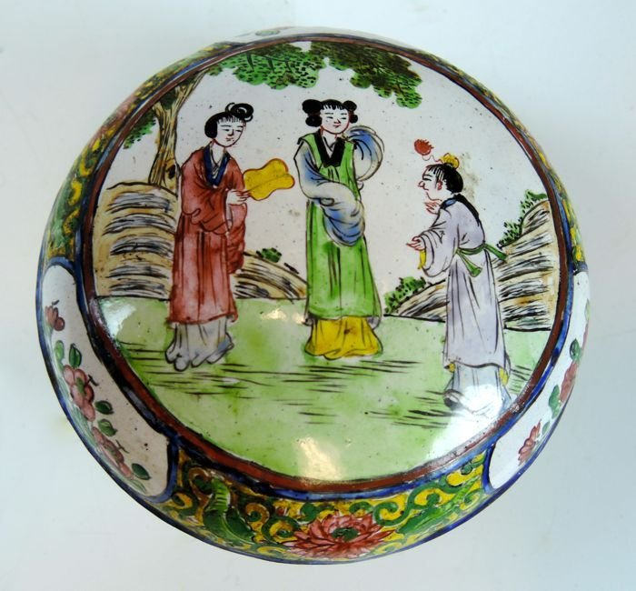 Early Chinese Handpainted Covered Enamel Box
