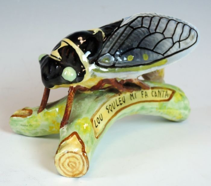 French Majolica Locust Signed Sicard