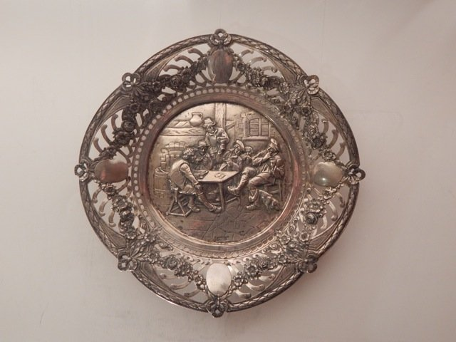 German Silver Reticulated Plate