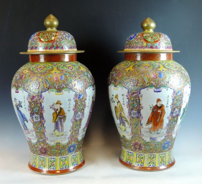 Pair Chinese Famile Rose Covered Jars
