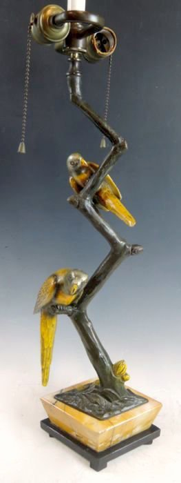 Art Deco Bronze Parrot Lamp Harders