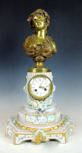 Tiffany & Galle Ceramic & Bronze Clock