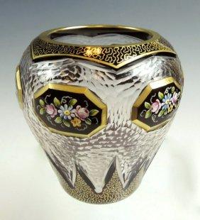 Facet Cut Gilt And Enamel Moser Vase