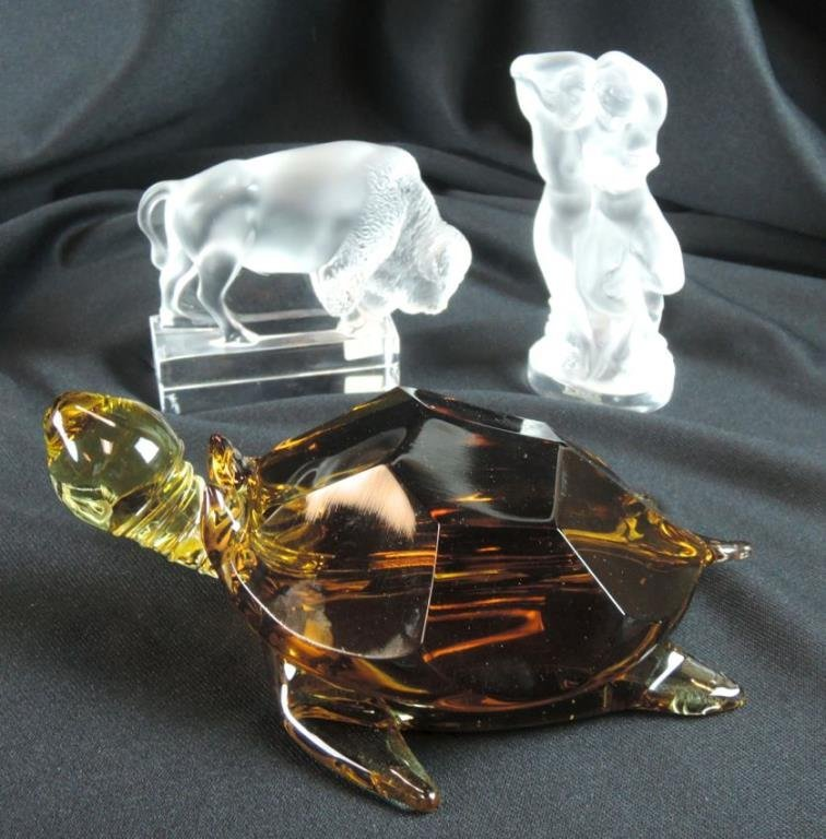 2 Lalique Crystal Figures & a Turtle
