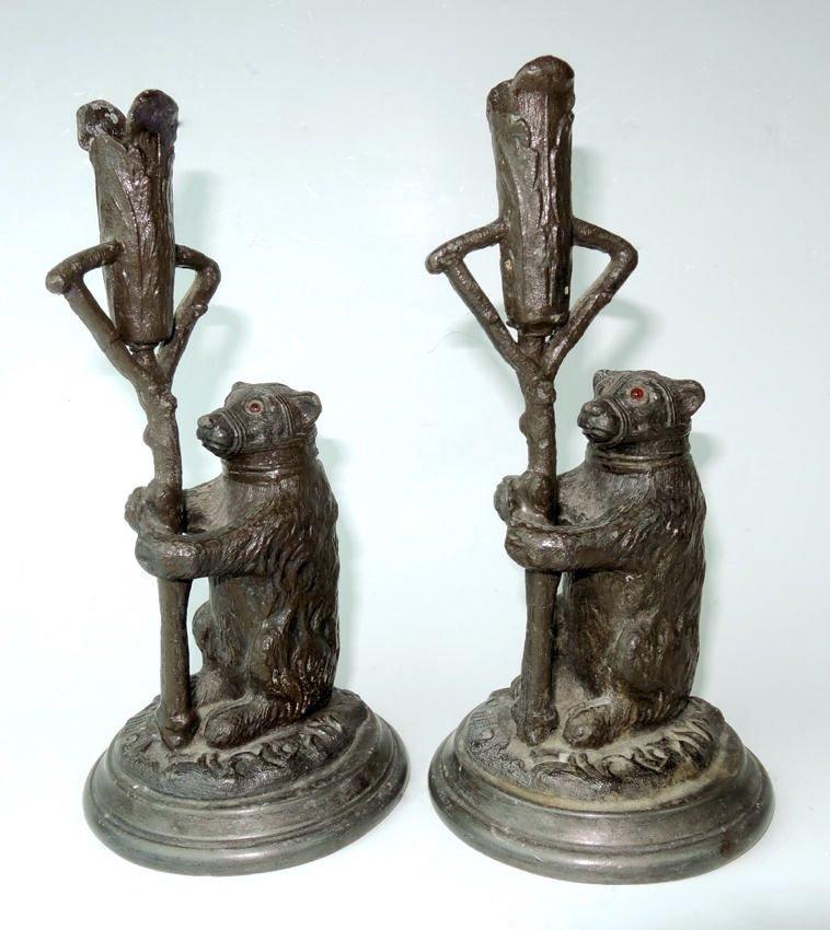 Pair Antique Figural Bear Candlesticks