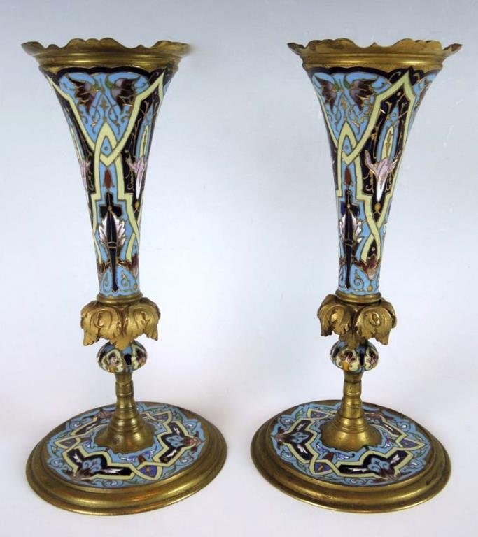 Pair Champleve Enamel Bronze Vases