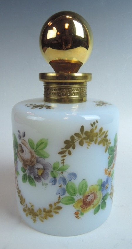 French Hand Painted Opalescent Bottle