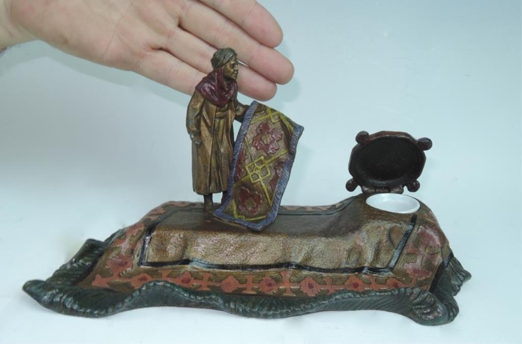 Polychromed Inkwell of Rug Merchant