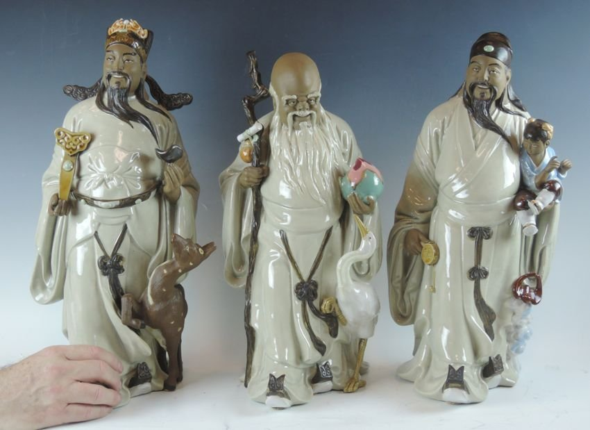 3 Signed Chinese Wisemen Figurines