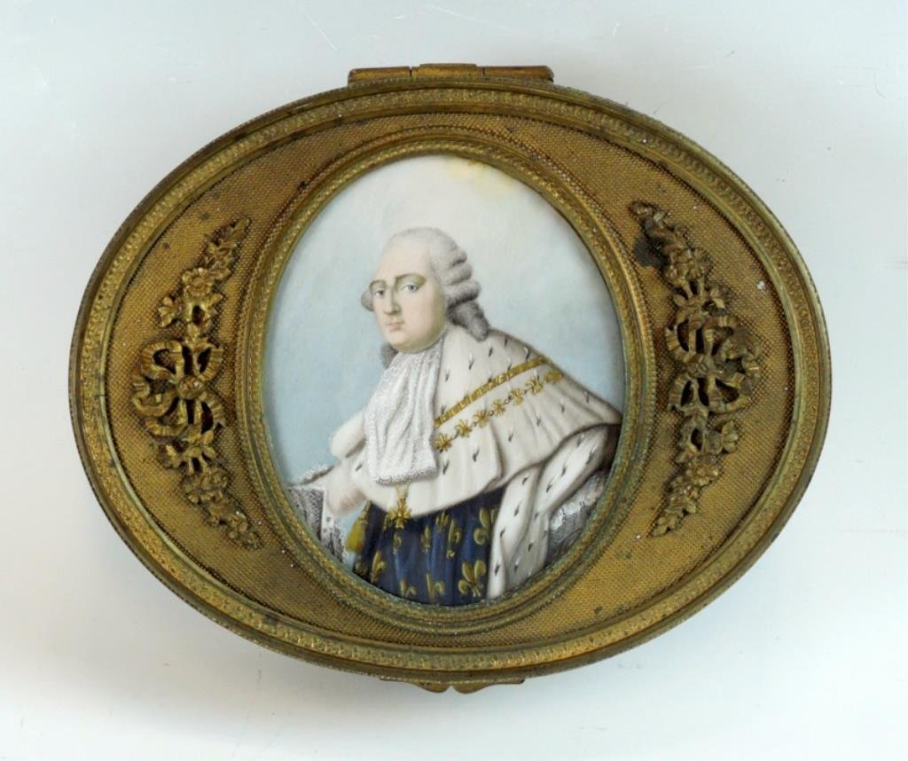 French Bronze Covered Box w Painted Portrait