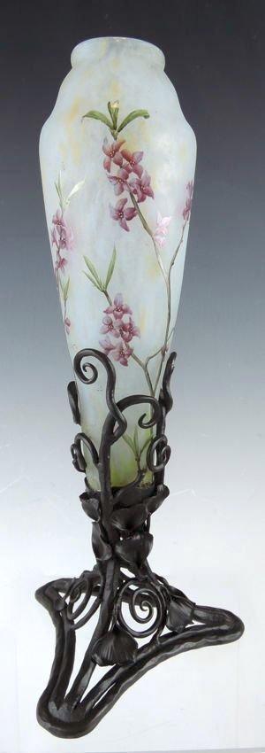 Daum Nancy Cameo Enameled Vase