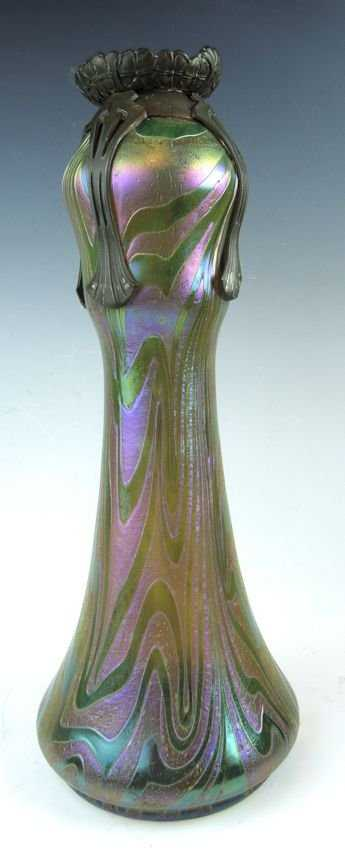 Large Palme Konig Or Loetz Vase Metal Overlay