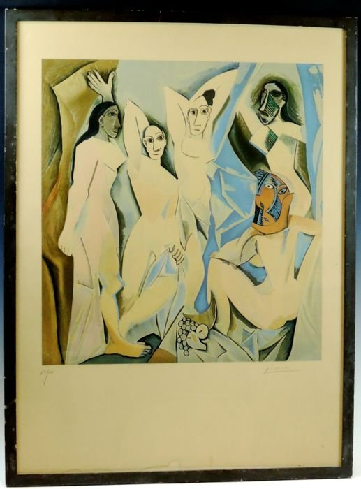 After Picasso Color Lithograph Les Demoiselles