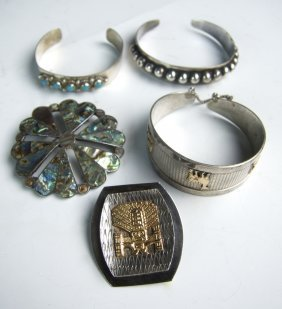 5 Vintage Southwestern Silver Jewelry Pieces