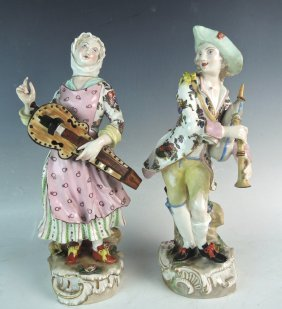 Pair Dresden Figures W Musical Instruments