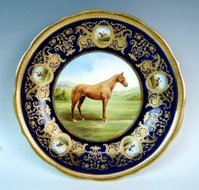 Rare 1908 Cauldon Hand Painted Bowl Of Race Horse