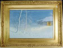 Evening Snowstorm Watercolor Painting sgd H Pether