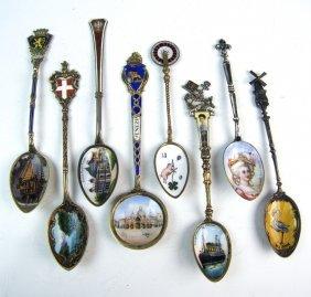 8 Enamel & Sterling Souvenir Spoons C1900