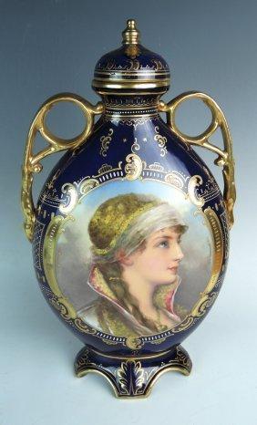 Royal Vienna Artist Signed Portrait Vase