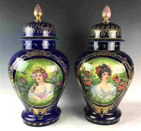Pair Royal Vienna Porcelain Covered Urns