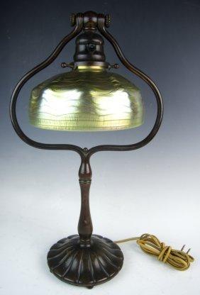 Tiffany Studios Favrile & Bronze Harp Lamp