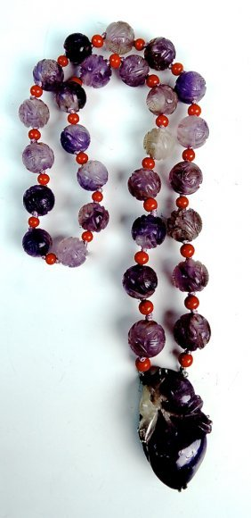 Antique Chinese Amethyst And Coral Necklace