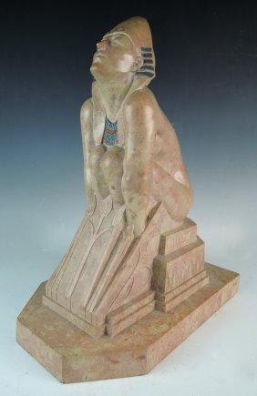 American Marble & Polychrome Figure Of Sphinx