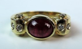 Ruby & Diamond 14k Gold Ladies Ring