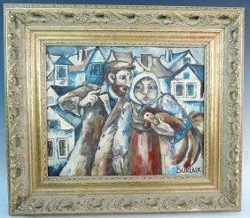 Signed Burliuk Russian Painting Of Russian Couple