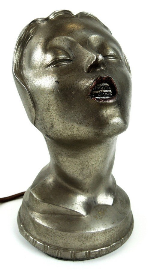 Art Deco Female Head Cigar Lighter