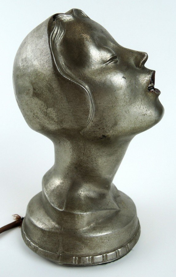 Art Deco Female Head Cigar Lighter - 2