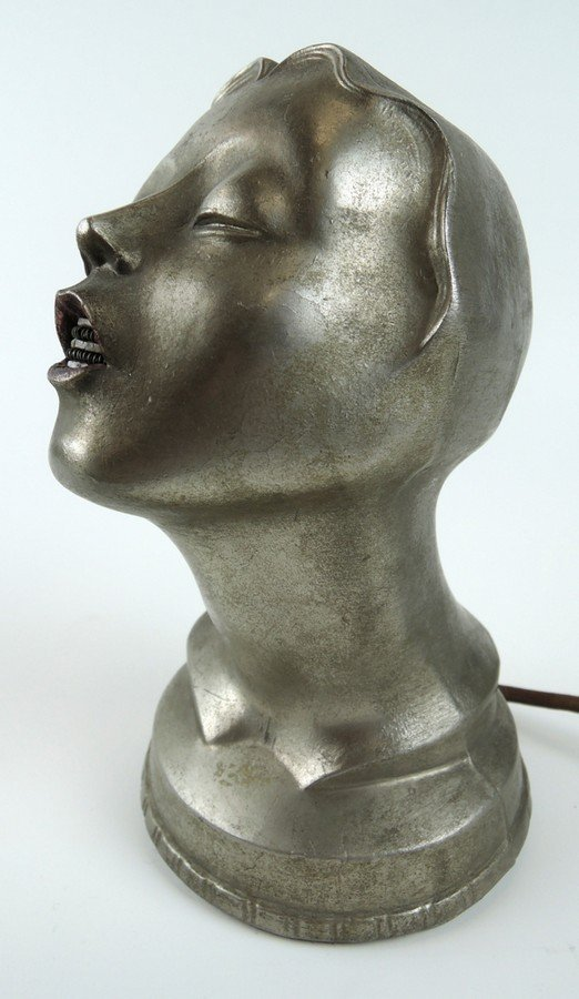 Art Deco Female Head Cigar Lighter - 3