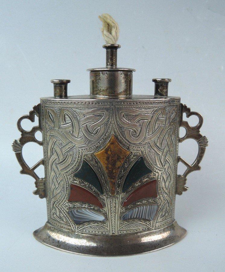 Antique Scottish Sterling & Agate Cigar Lighter