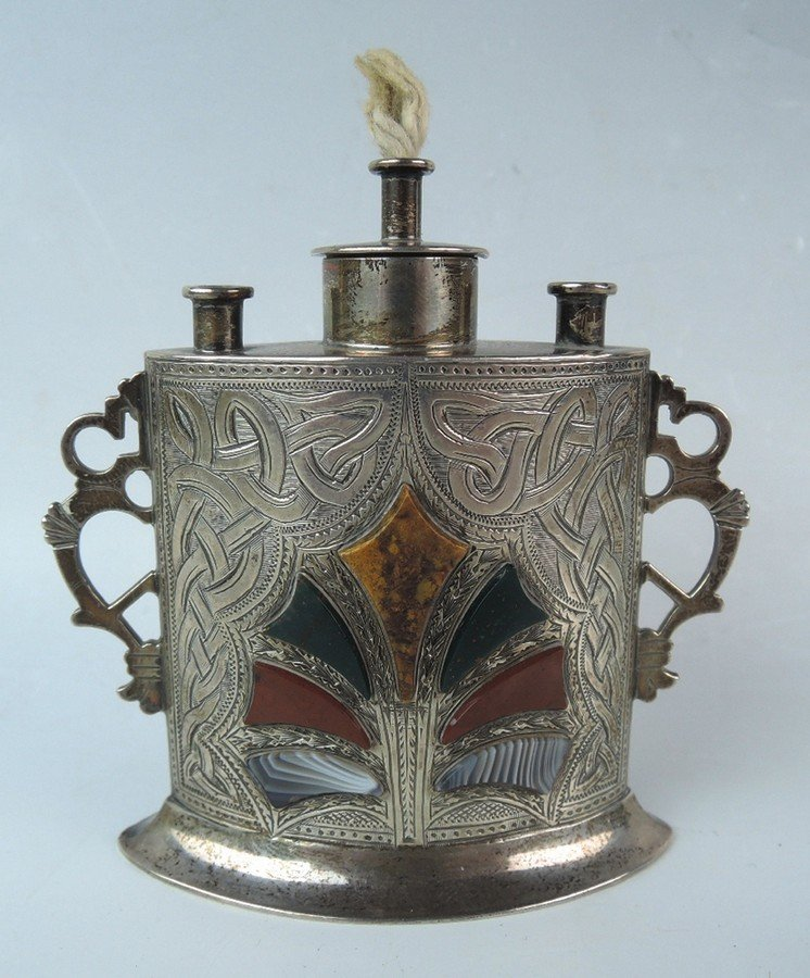 Antique Scottish Sterling & Agate Cigar Lighter