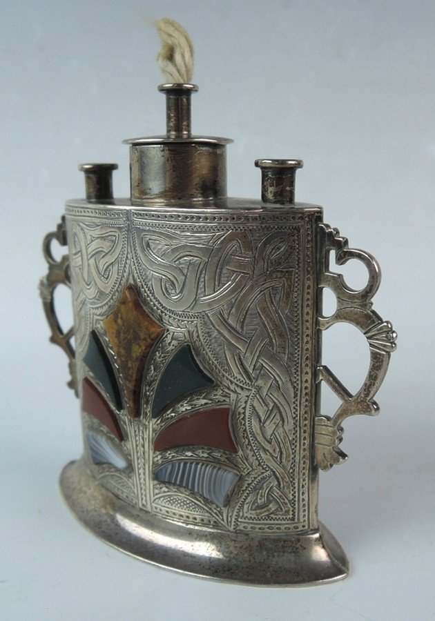 Antique Scottish Sterling & Agate Cigar Lighter - 4