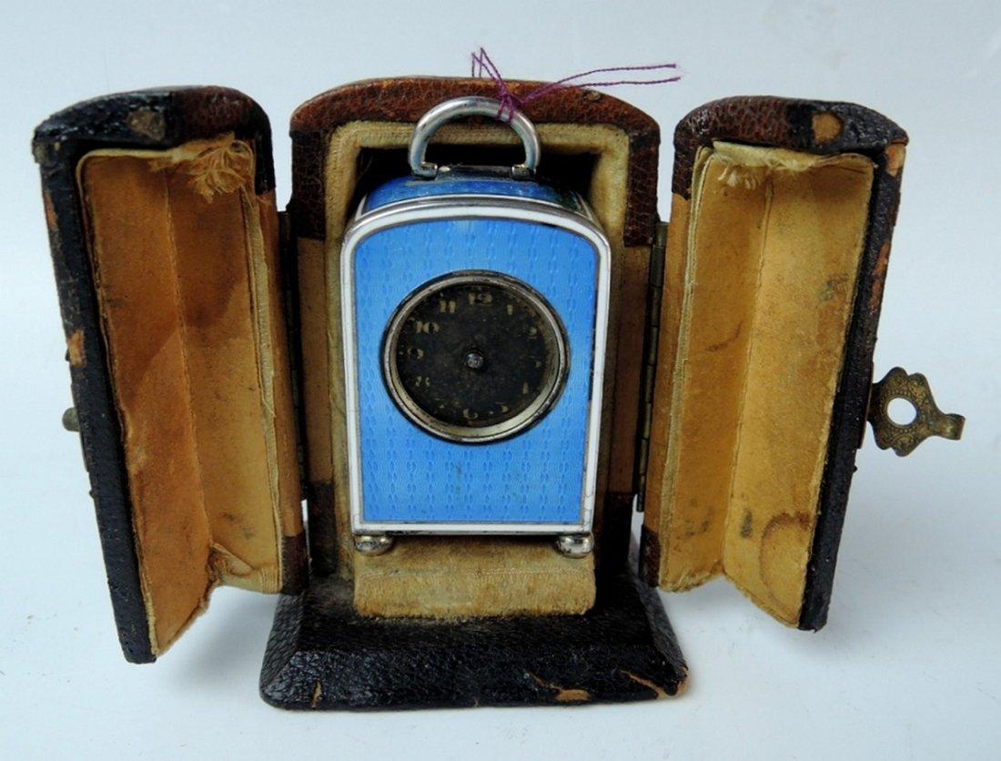 Sterling Silver & Enamel Miniature Clock in Case