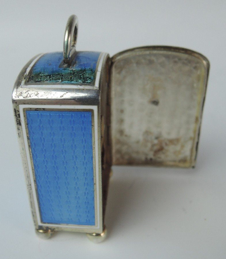Sterling Silver & Enamel Miniature Clock in Case - 3