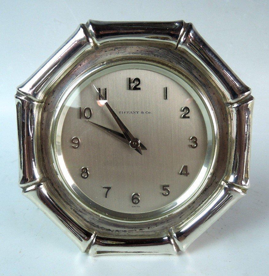 Tiffany & Co Sterling Silver Bamboo Desk Clock