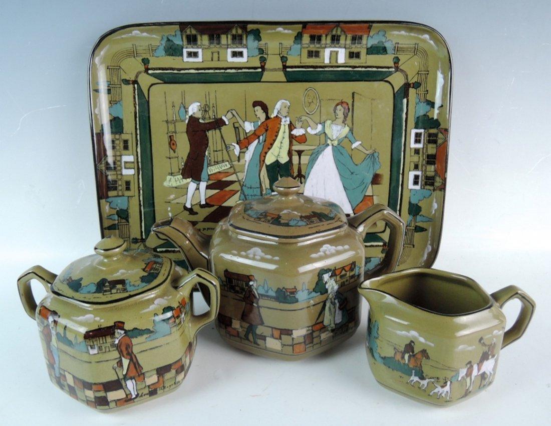Rare Buffalo Pottery Deldare Ware Teaset