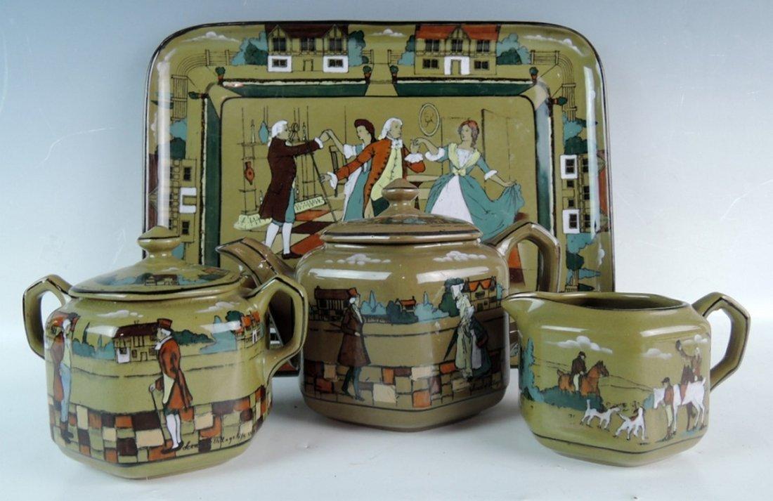 Rare Buffalo Pottery Deldare Ware Teaset - 2
