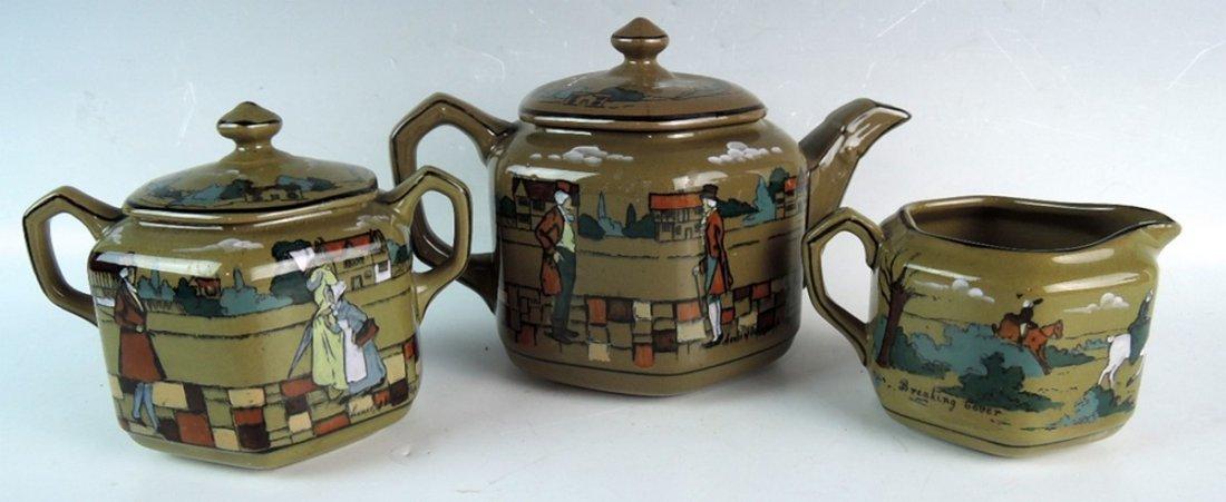 Rare Buffalo Pottery Deldare Ware Teaset - 5