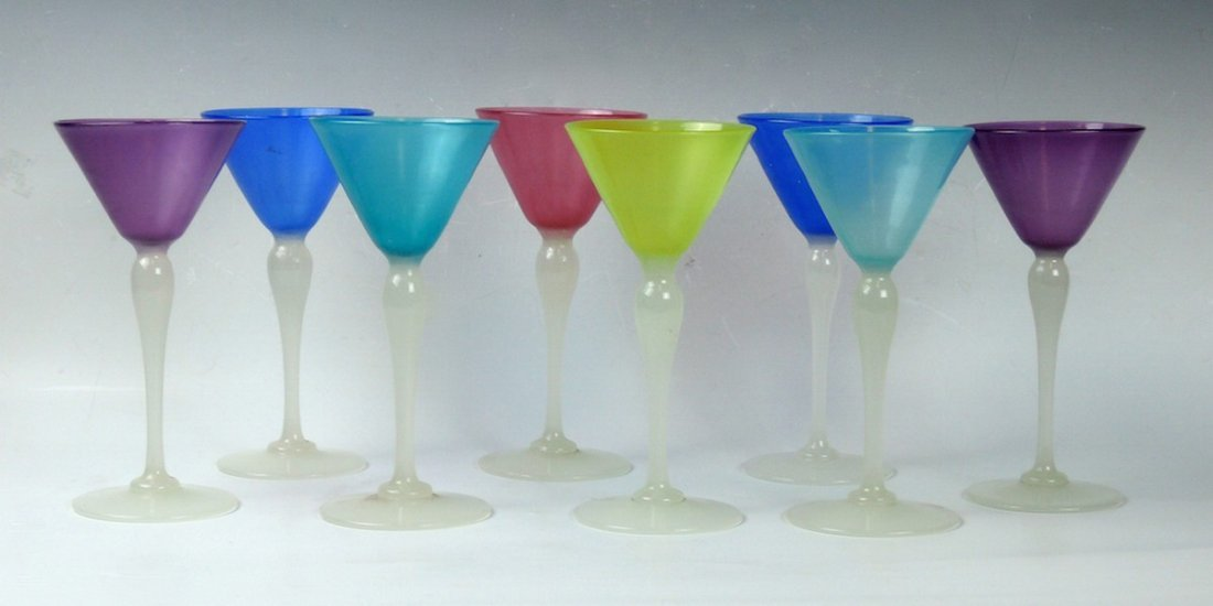 Set of 8 Steuben Art Deco Martini glasses - 2