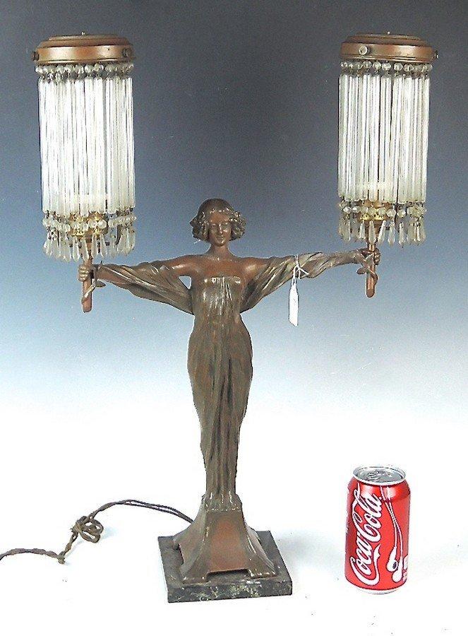 Large Art Nouveau Figural Lady Lamp