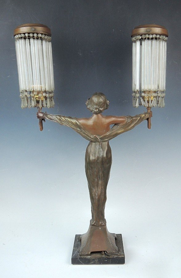 Large Art Nouveau Figural Lady Lamp - 2